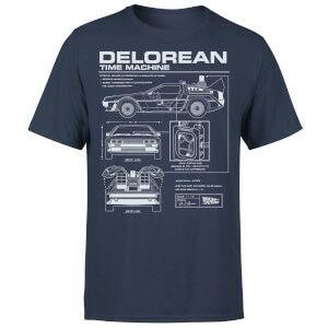 T-Shirt Homme Retour vers le Futur Schéma de la DeLorean - Bleu Marine / 100% Coton (taille au choix) + Mug au choix