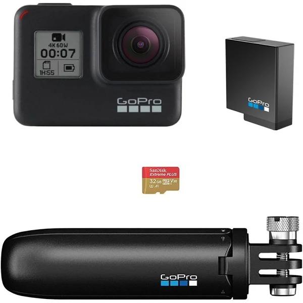 Pack spécial Caméra Sportive Go Pro 7 Black + Batterie + mini-perche extensible + Carte MicroSD 32Go (282,95 € sur Google shopping)