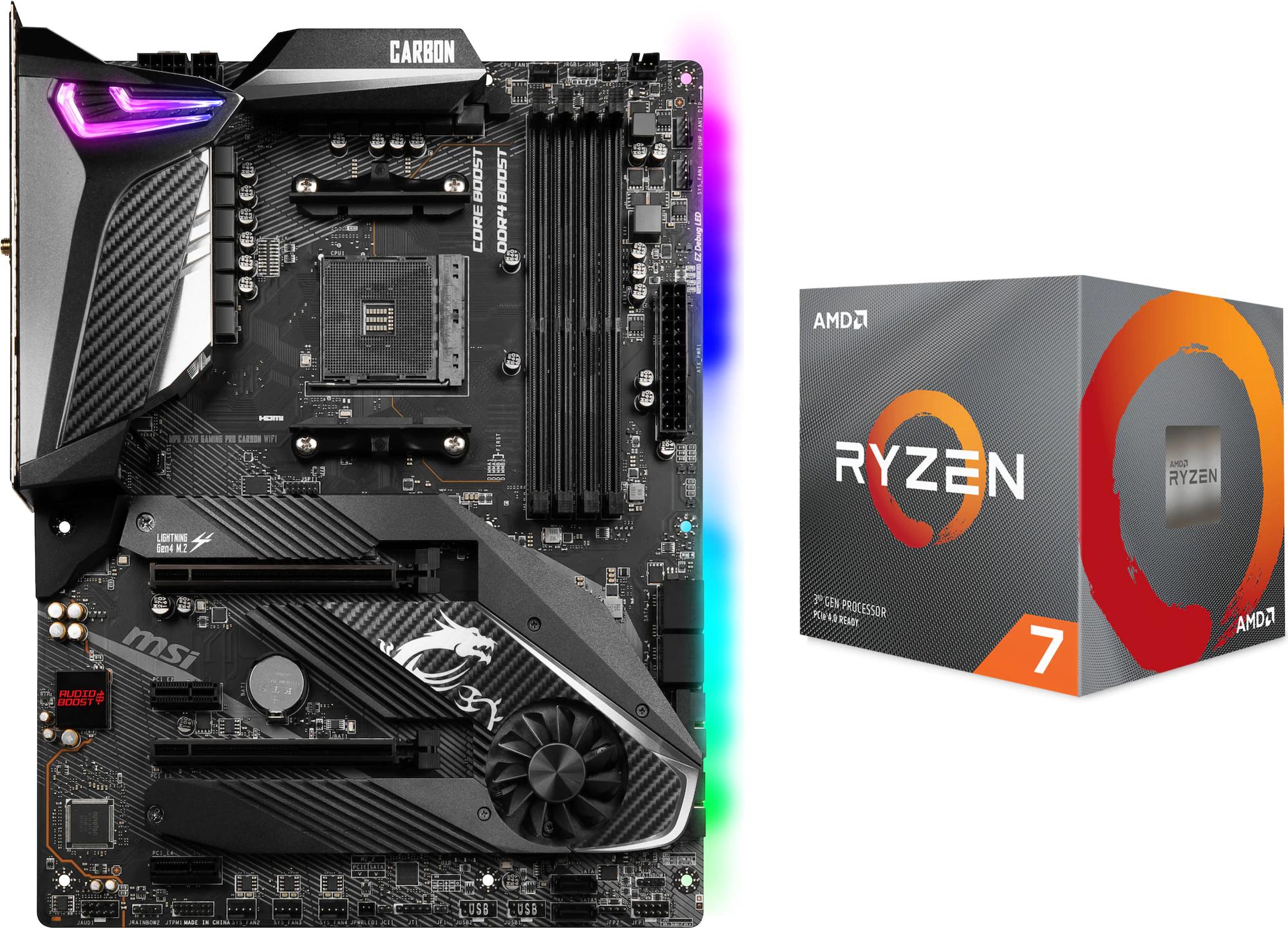 Pack carte mère MSI X570 Gaming Pro Carbon Wifi + Processeur Ryzen 7 3700X - AM4, AMD X570, ATX ( Frontaliers Suisse )