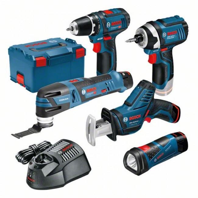 Pack de 5 outils Bosch Professional Perceuse-visseuse + Lampe + Scie sabre + Boulonneuse - L-BOXX, 3 batteries de 2Ah (outils des pros)