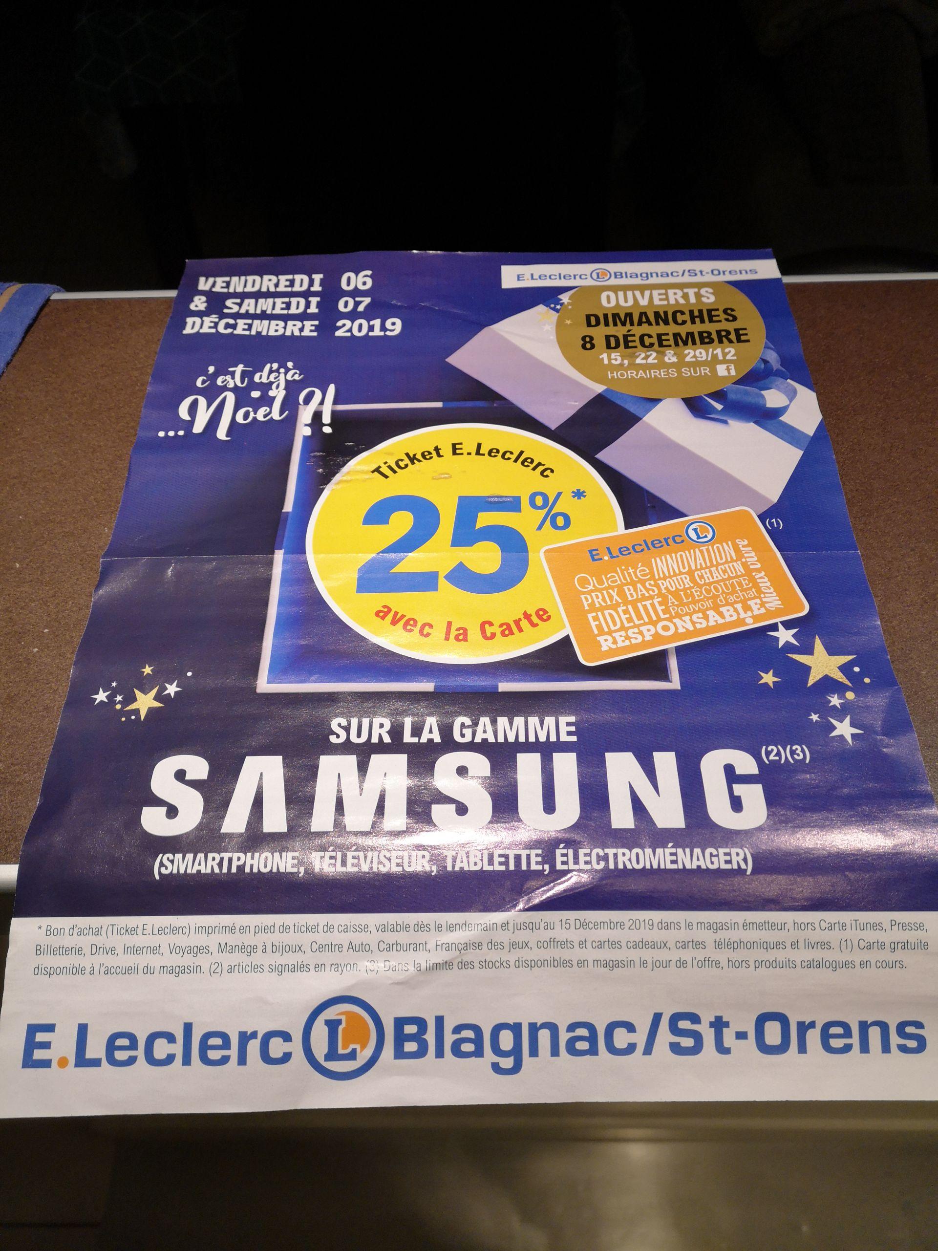 25% offerts en bon d'achat sur la gamme Samsung - Blagnac et Saint orens (31)