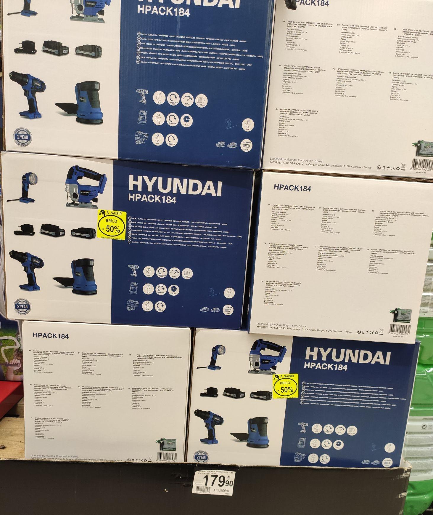 Pack de 4 outils sans fil Hyundai (1 perceuse 18V + 1 scie sauteuse + 1 ponceuse + 1 lampe) + 2 batteries + 1 chargeur - Aubière (63)