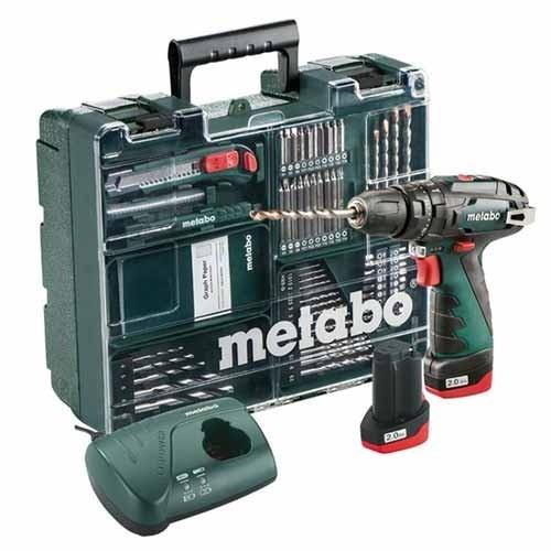 Perceuse visseuse Metabo à percussion sans fil - 10.8V, 2x2Ah + coffret accessoires - 600385870