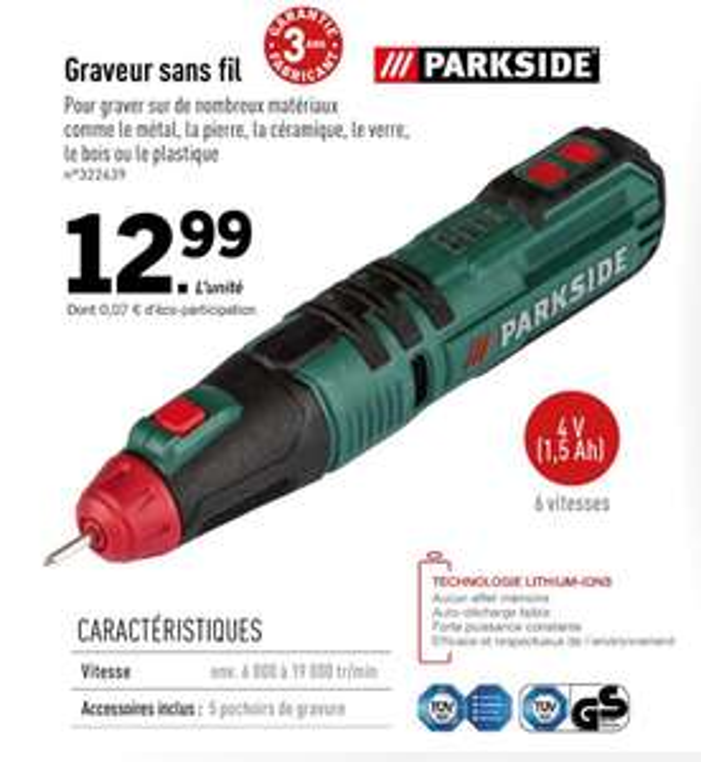 Graveur sans fil Parkside - 4 V, 1.5 Ah, 6 vitesses