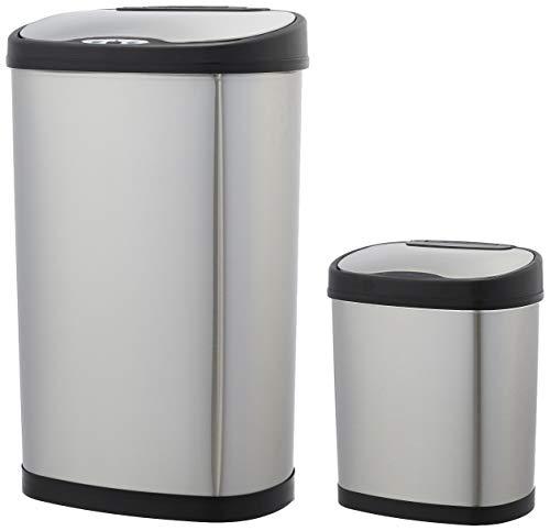 Lot de 2 poubelles automatiques en acier inoxydable AmazonBasics - 12 L & 50 L