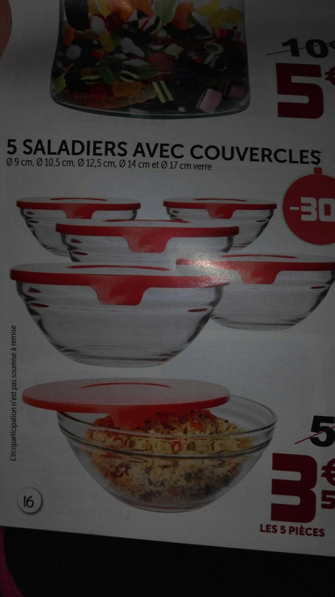 5 Saladiers en verre avec couvercles