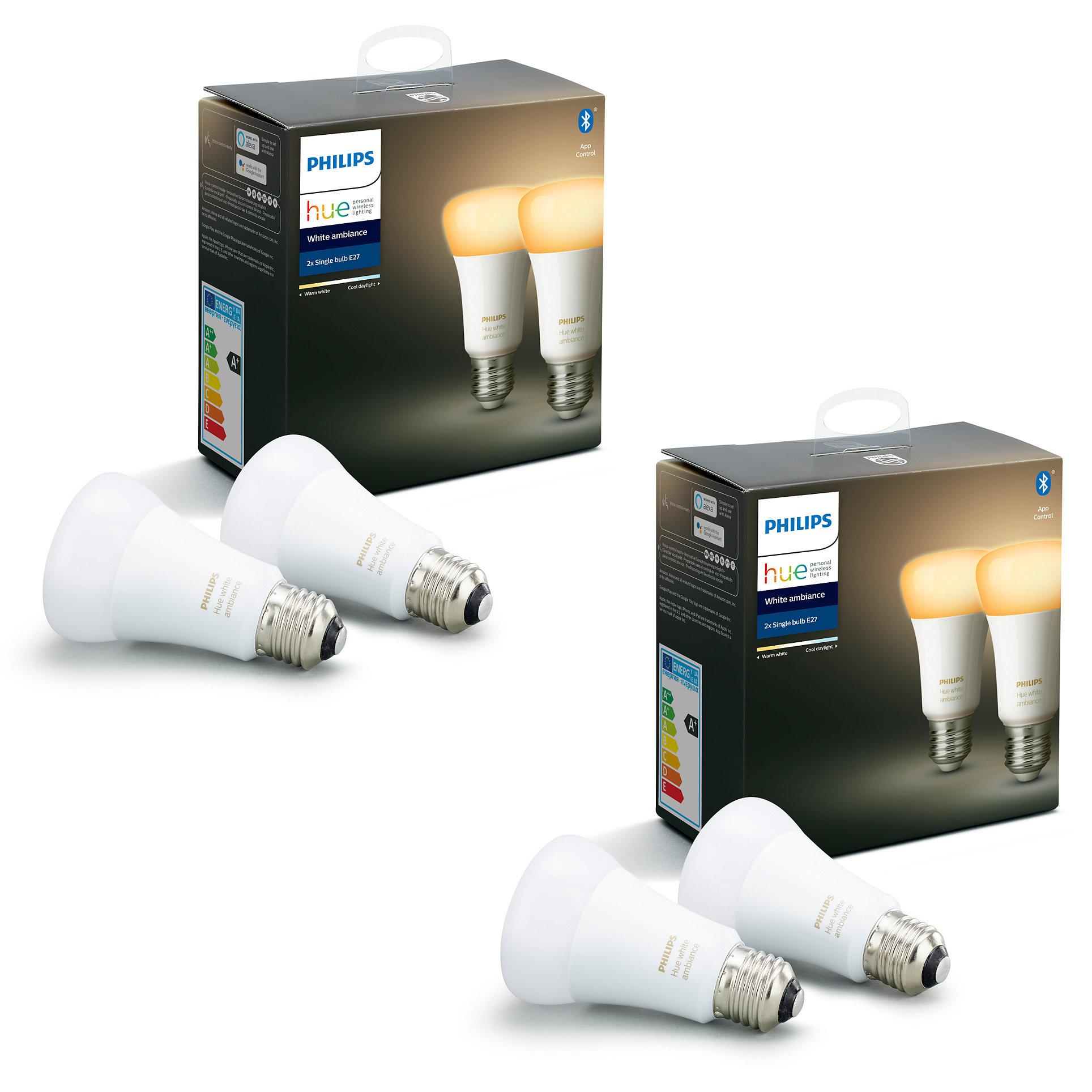 50% de réduction sur le 2ème produit Philips Hue acheté - Ex : Lot de 4 Ampoules White Ambiance E27