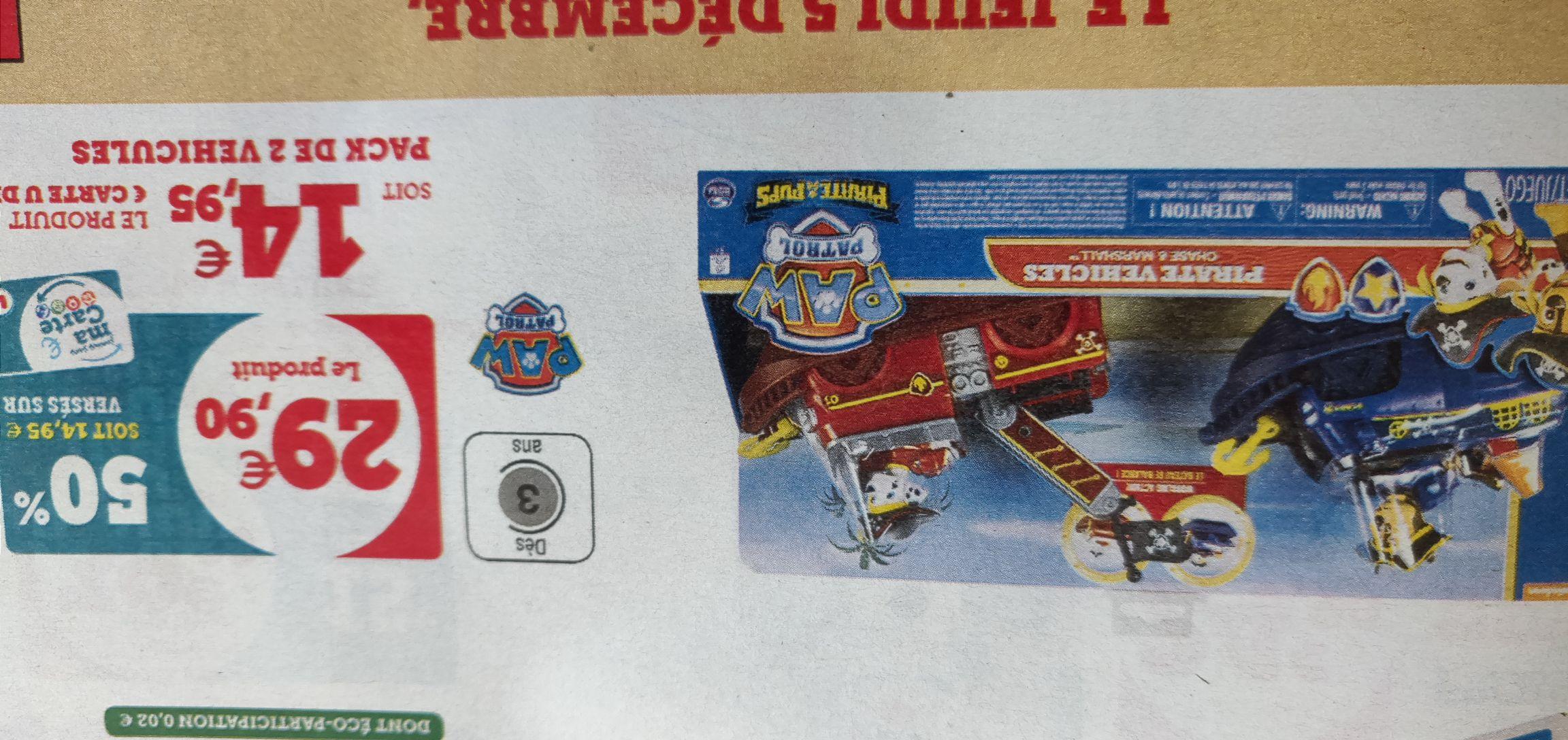 Pack de 2 véhicules La Pat' Patrouille Pirate (via 14.95€ sur la carte de fidélité)