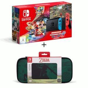 Pack Console Nintendo Switch (V2) + Joy-con Néon + Mario Kart 8 Deluxe (Dématérialisé) + Housse Zelda