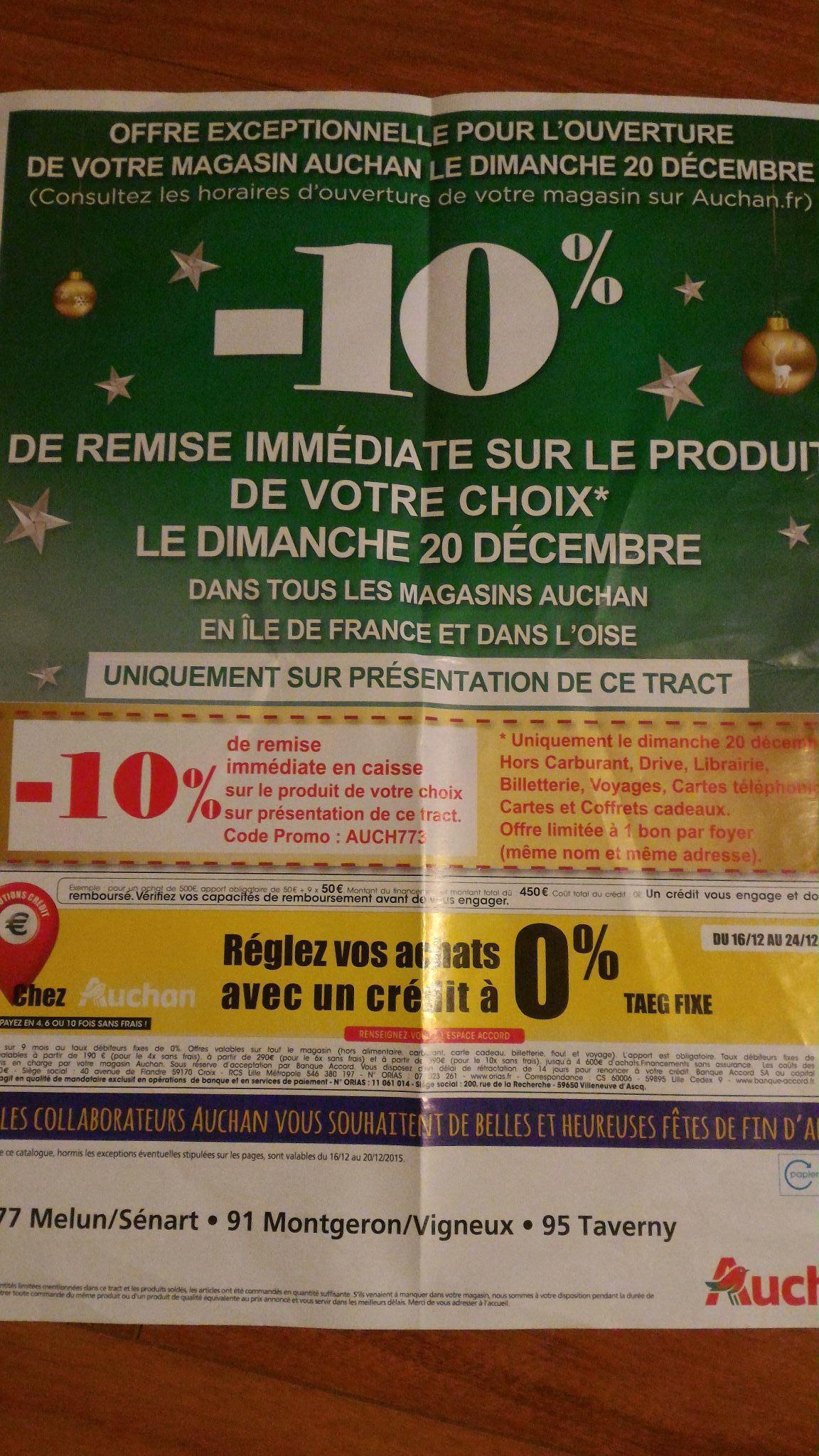 10% de réduction sur le produit de votre choix