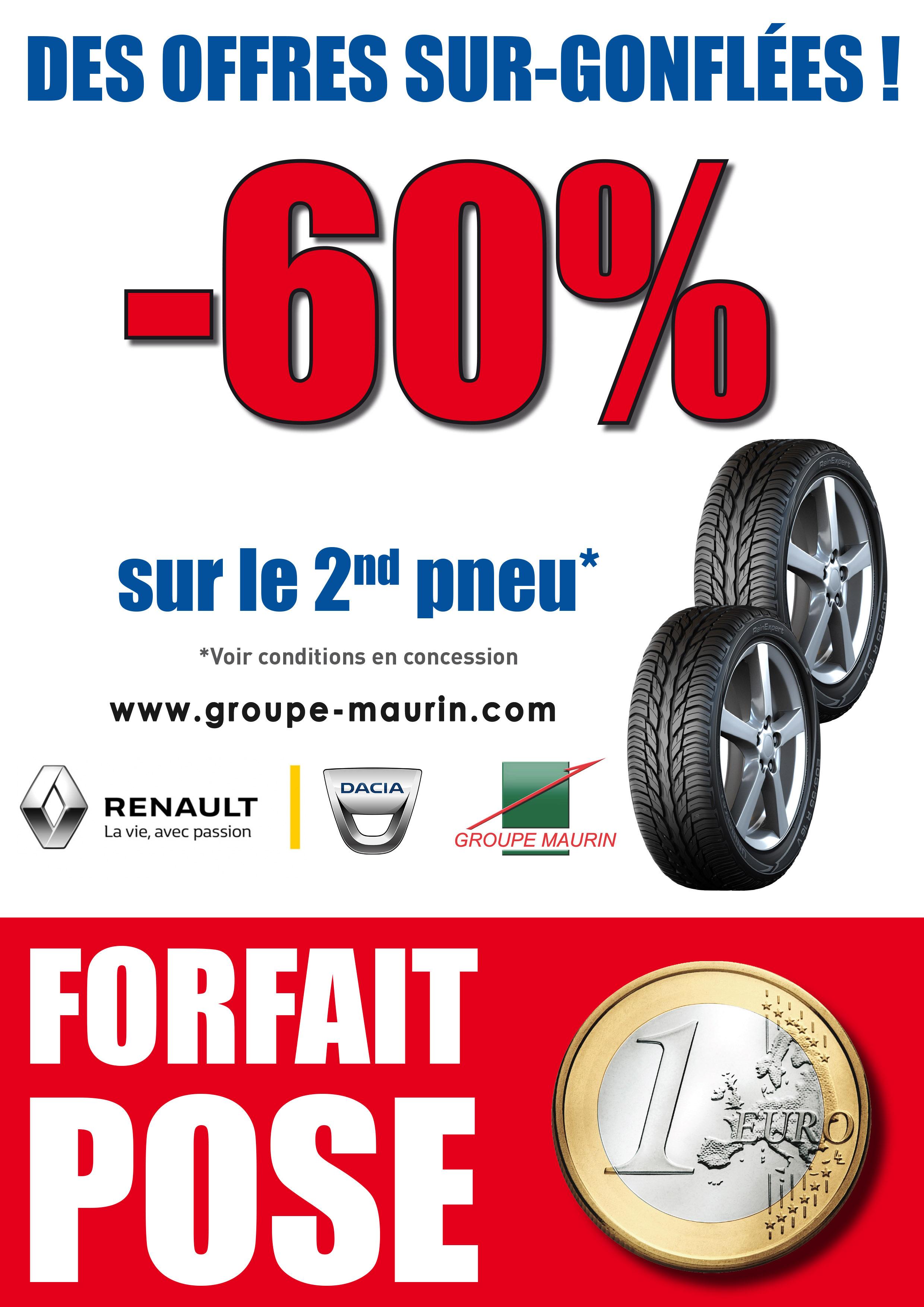 60% de réduction sur le 2ème pneu acheté et main d'oeuvre à 1€ - Renault Minute Chennevieres sur marne (94)