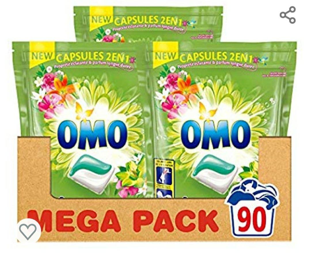 Lot de 3 Paquets de Lessive Capsules 2 en 1 Omo Lilas blanc ylang ylang