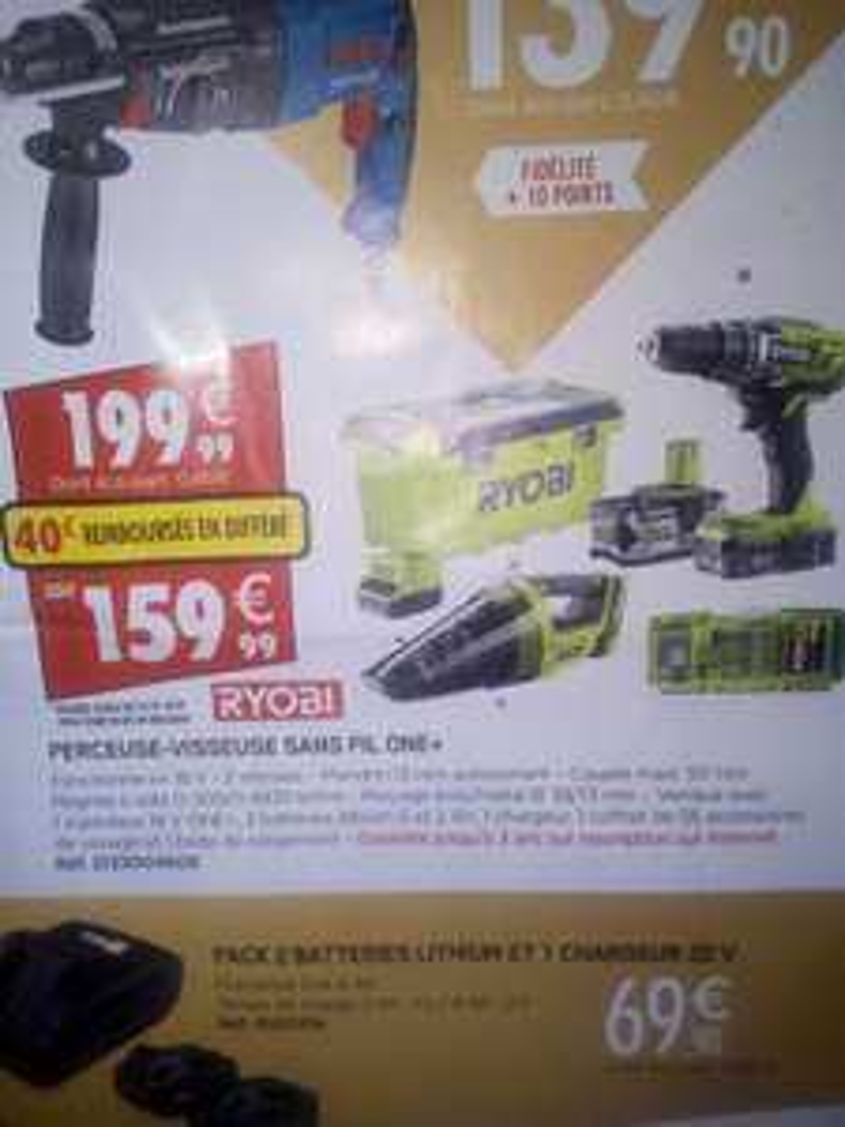 Pack Ryobi Perceuse visseuse + Aspirateur + 2 batteries + Coffret 55 accessoires (Via ODR de 40€) - Brico pro André de la Marche (49)