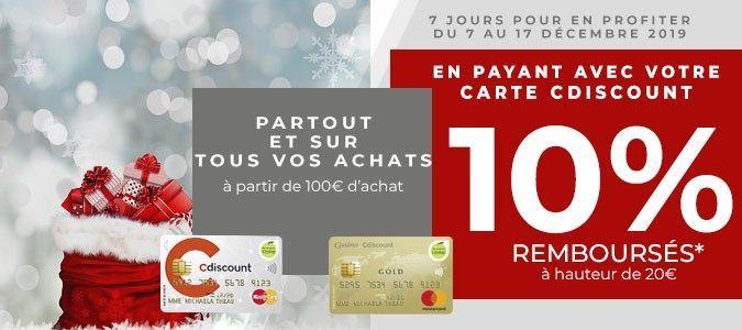 [Carte Cdiscount] 10% remboursés en bon d'achat dès 100€ d'achat chez tous les commerçants (Max. 20€)