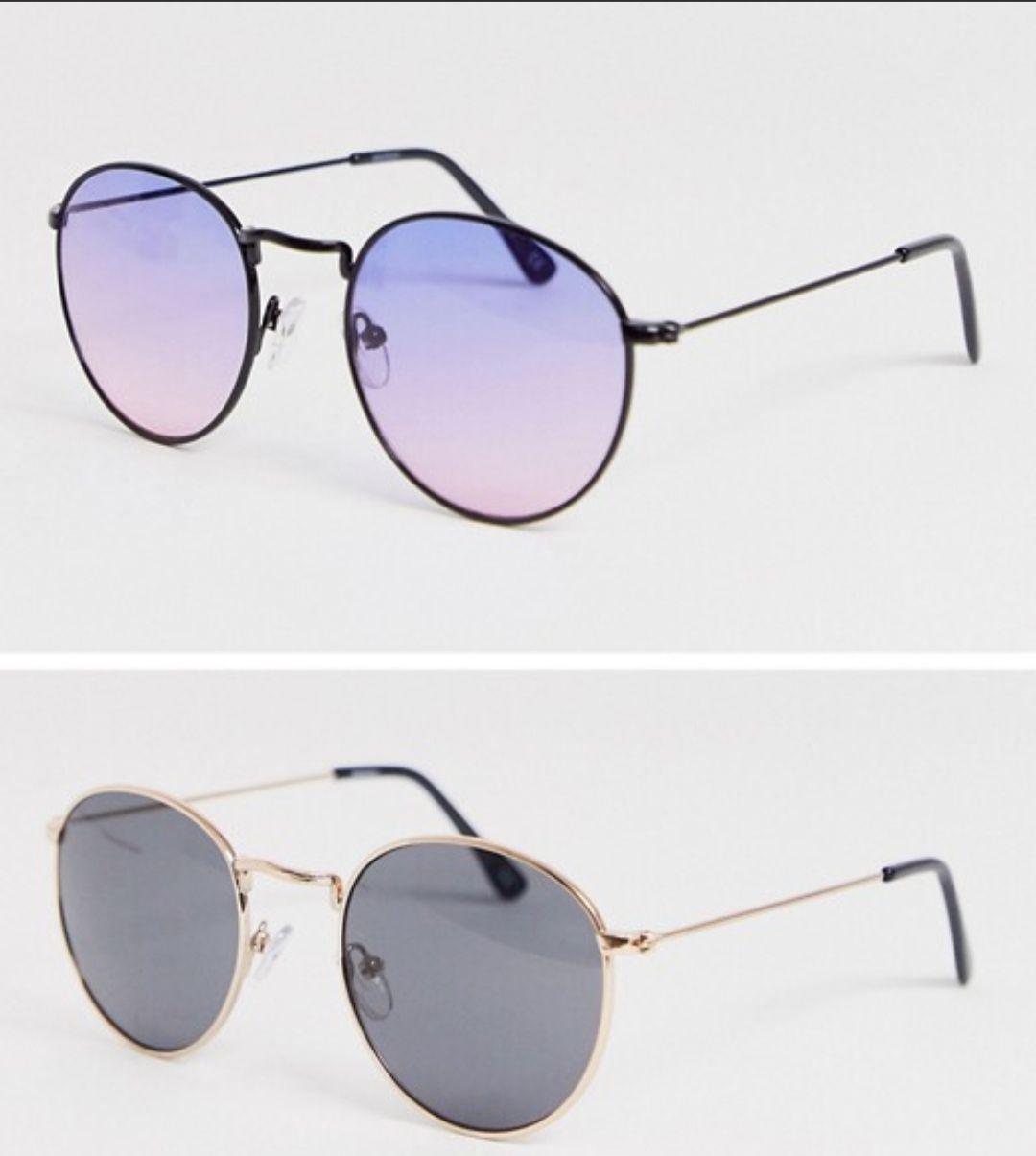Lot de 2 paires de lunettes de soleil rondes avec montures dorées et verres violets dégradés