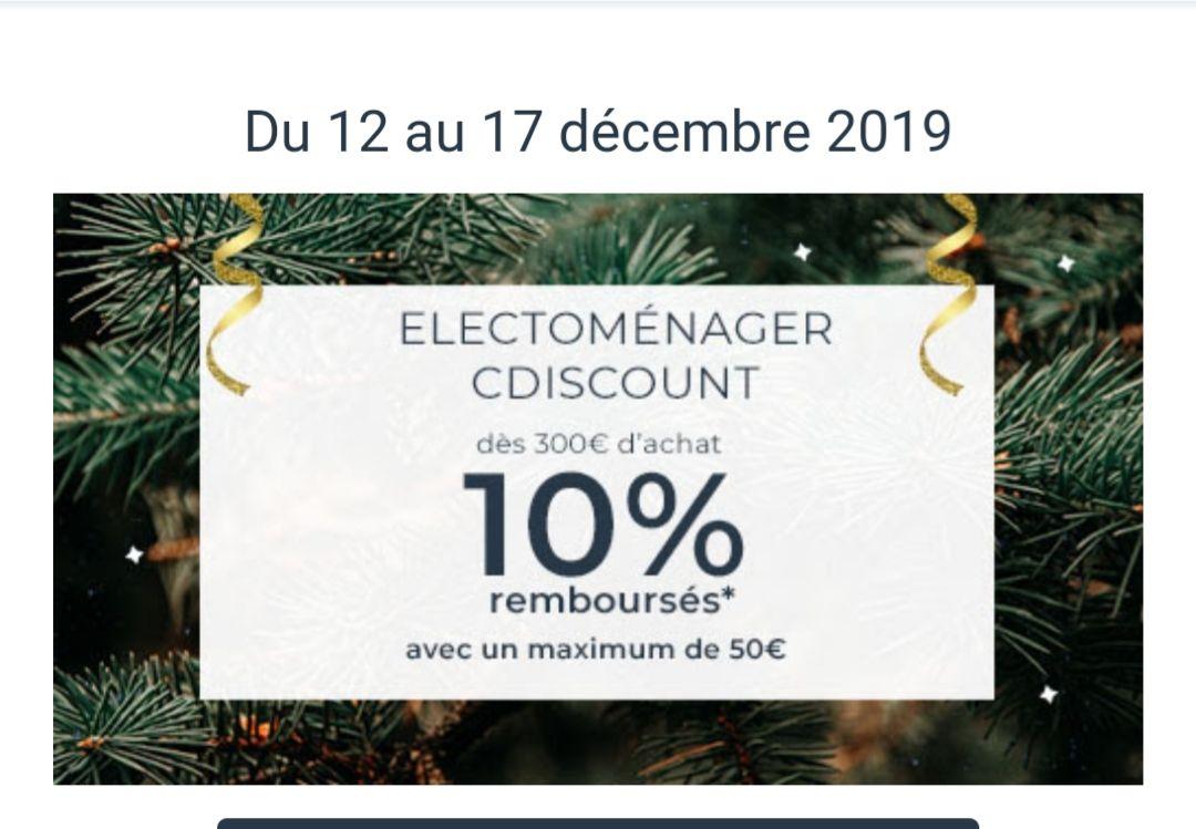 [Carte Cdiscount] 10% remboursés en bon d'achat sur l'électroménager dès 300€ d'achats (Max. 50€)