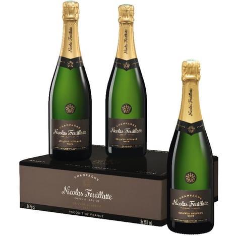 Coffret de 3 Bouteilles de Champagne Nicolas Feuillatte Grande Réserve Brut - 3 x 75cl