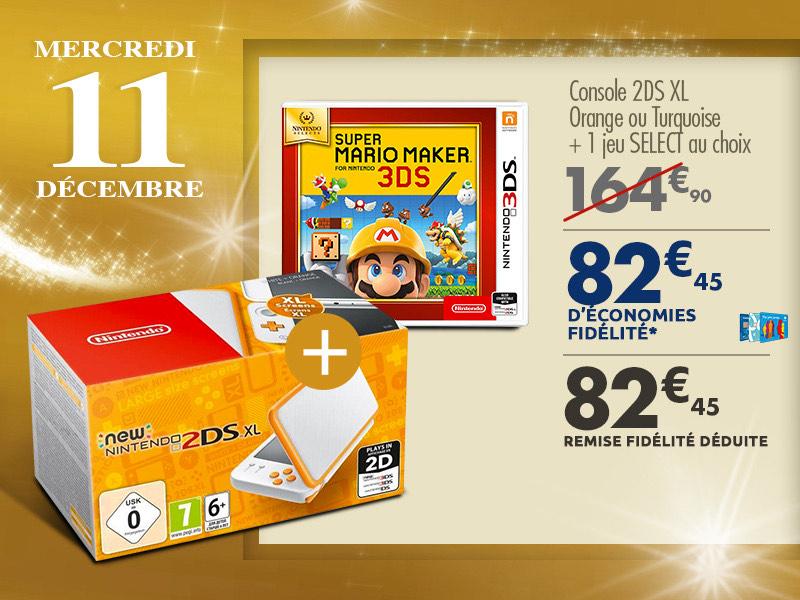 Console Nintendo 2DS XL (Orange ou turquoise) + 1 jeu Select au choix (via 82,45€ sur la carte fidélité)