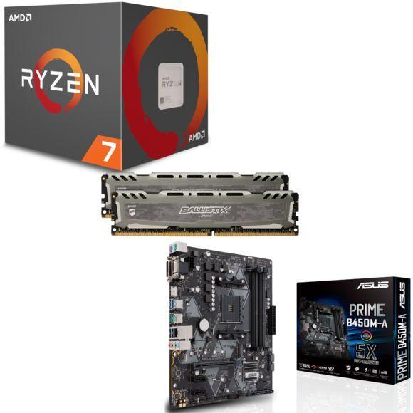 Processeur Ryzen 7 2700 Wraith Spire LED + Carte mère Asus B450M-A + Kit mémoire Sport LT - 16 Go, 3200 MHz + 3 mois Xbox Game Pass