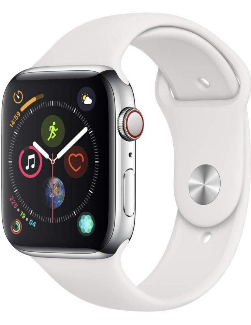 Montre connectée Apple Watch Series 4 (GPS + Cellular) - 44 mm avec Bracelet Sport Blanc Boîtier acier inoxydable