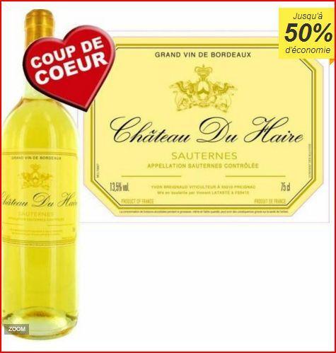 Vin blanc liquoreux Château Du Haire Sauternes 2014