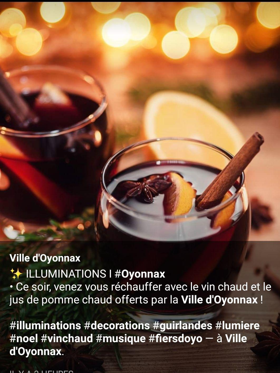 Vin chaud et Jus de pomme chaud gratuit - Oyonnax (01)