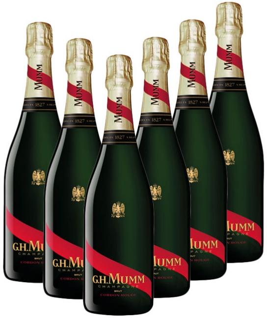 Lot de 6 bouteilles de champagne Mumm Cordon Rouge + 1 bouteille de champagne brut Mumm CRGE Millesimé 2009
