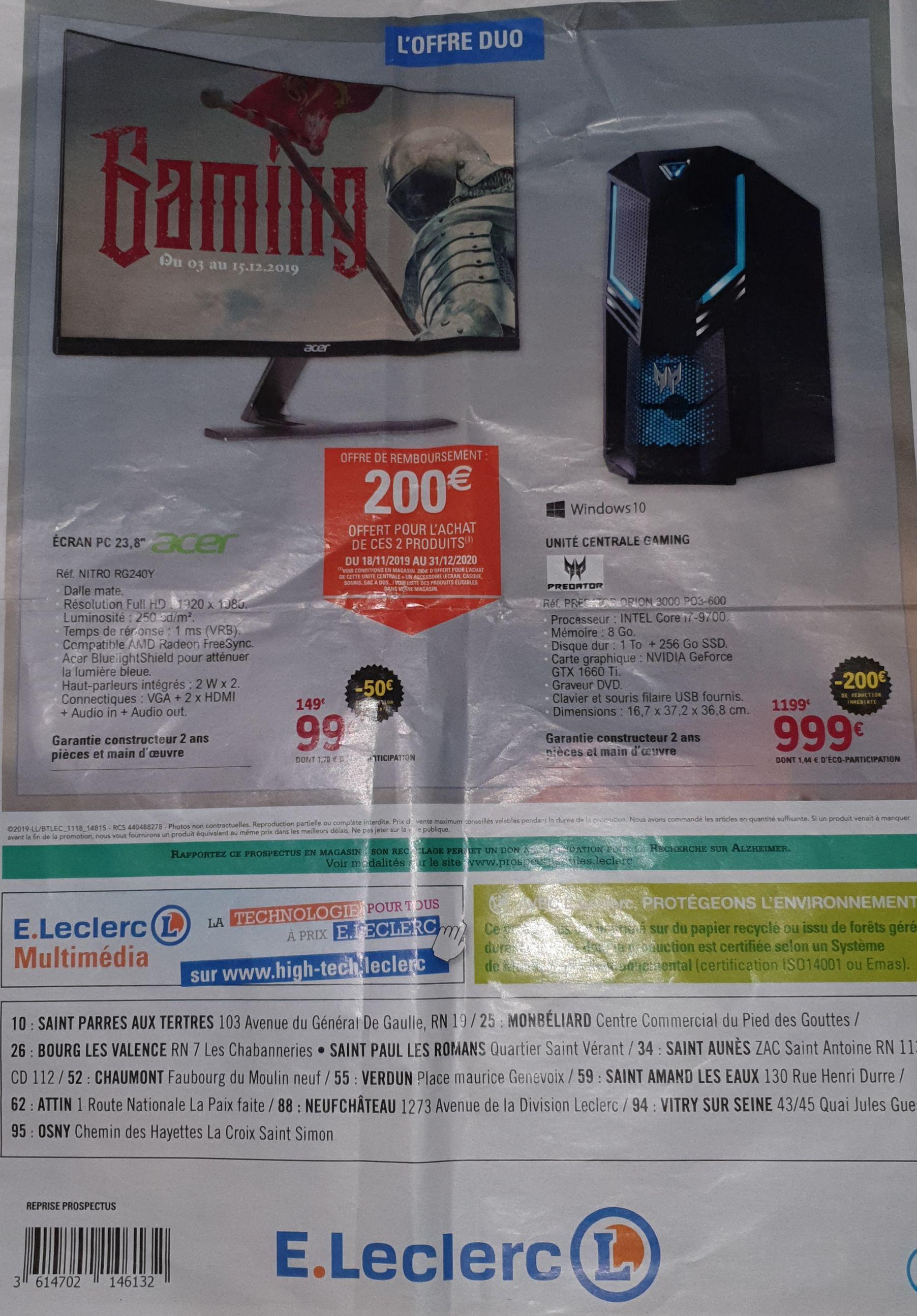 """Tour PC Acer Predator Orion 3000 (i7-9700, RAM 8 Go, 1To + SSD 256Go, GTX 1660 - 6 Go) + Ecran Acer 23.8"""" RG240Y - Full HD (via ODR de 200€)"""