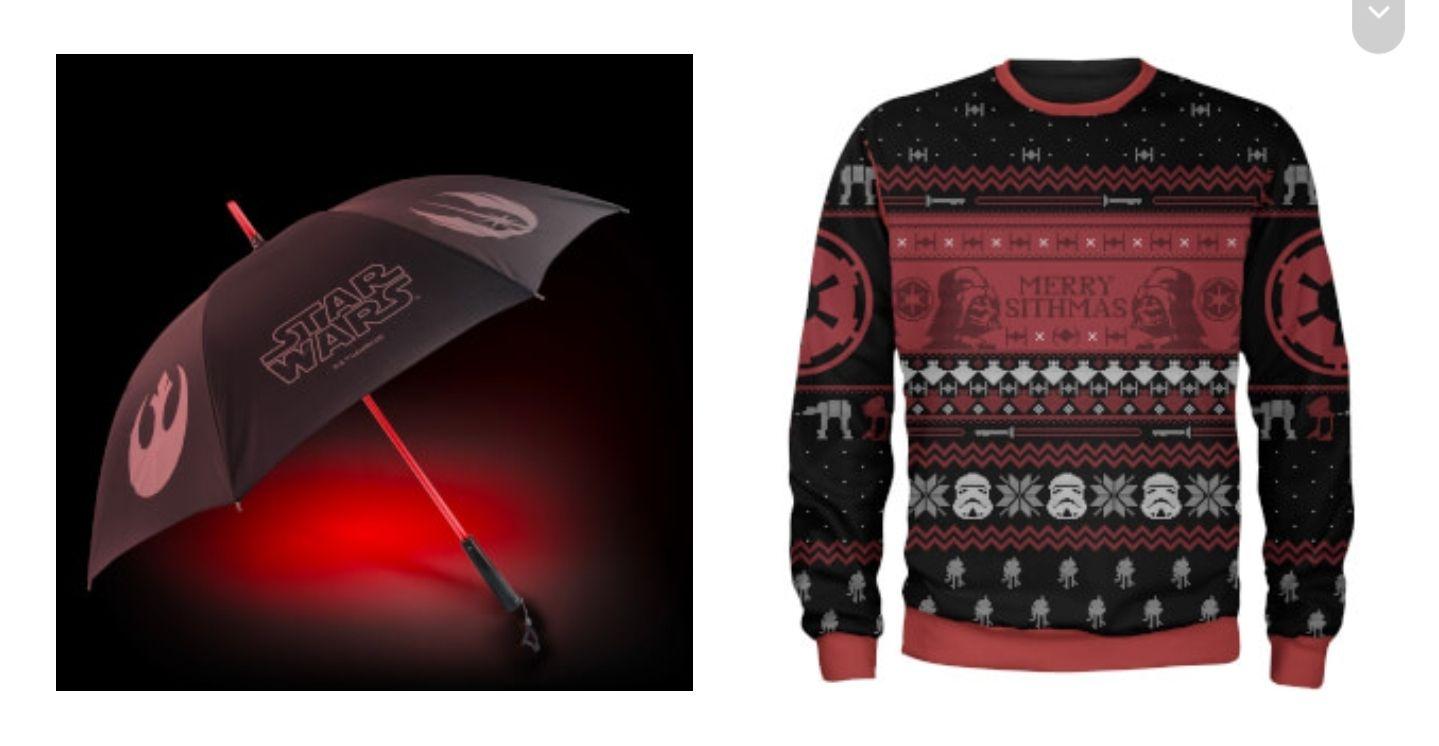 Pull de Noël Star Wars + Parapluie Sabre laser