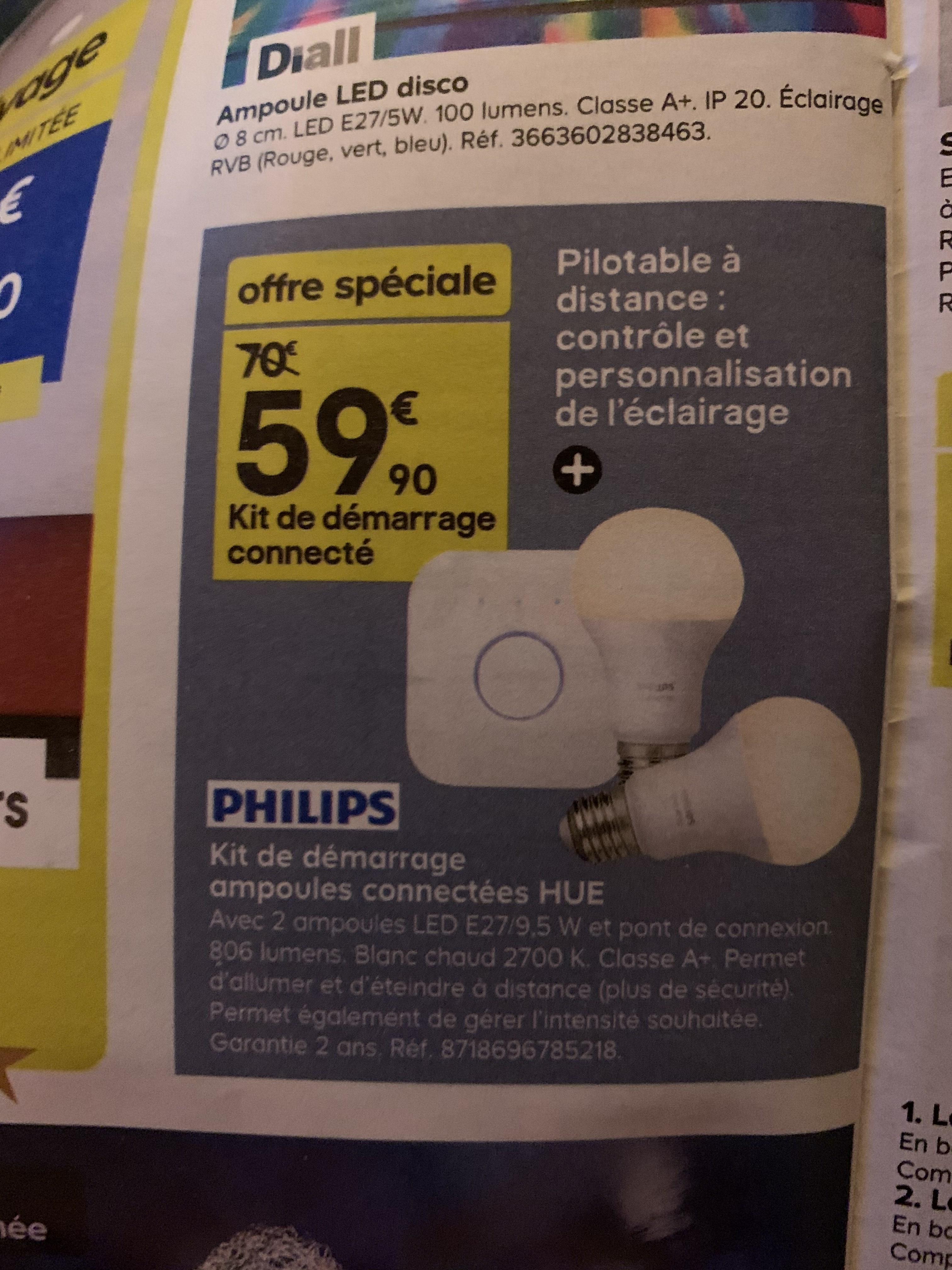 Kit de démarrage Philips Hue : Pont de connexion + 2 ampoules White