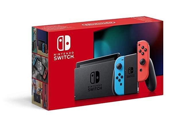 Console Nintendo Switch 2019 avec Paire de Joy-Con Bleu Néon & Rouge Néon + 15,25€ en Super Points