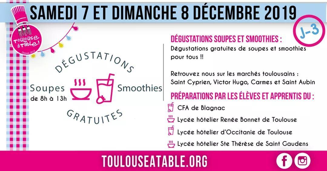 Distribution gratuite de 20 000 soupes et smoothies les 7 et 8 décembre - Toulouse (31)