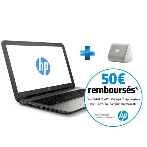 """PC Portable 15"""" HP 15-AC135NF - i5-4210U, 6 Go de Ram, 1 To + Enceinte Bluetooth HP Roar Mini (via ODR de 50€)"""