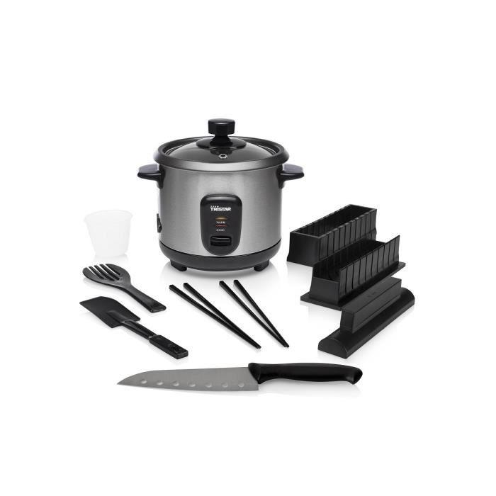 Cuiseur à riz Tristar RK-6140 (0.6l) + Kit à sushi ( baguettes, kit préparation maki, couteau, spatule)