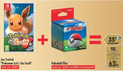 Jeu Nintendo Switch Pokémon Let's go Evoli + Pokéball Plus (Pokémon Mew inclus) (via 35€ sur la carte fidélité)