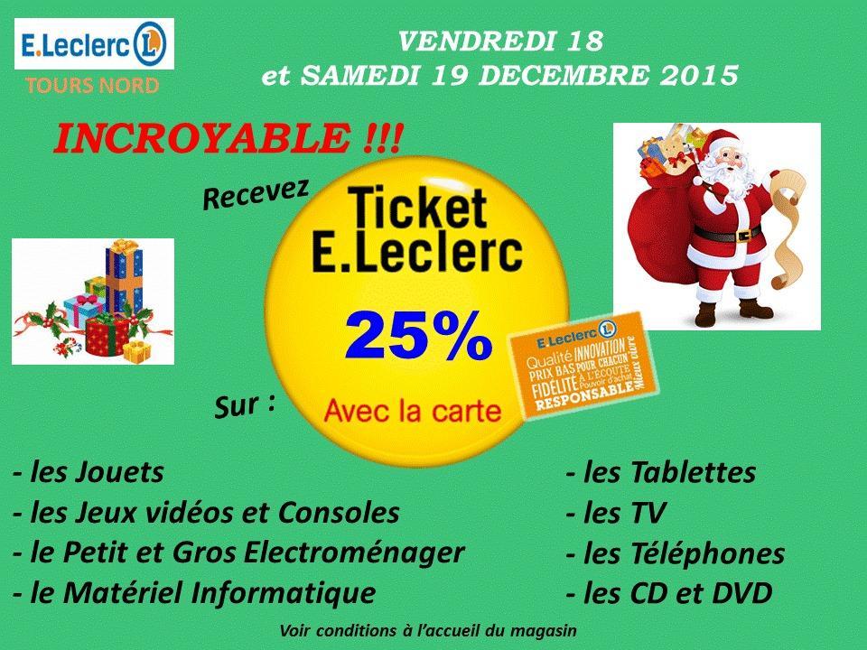 25% en Ticket E.Leclerc sur plusieurs rayons - Ex : Jouets, Jeux vidéos et Consoles, Electroménager, etc..