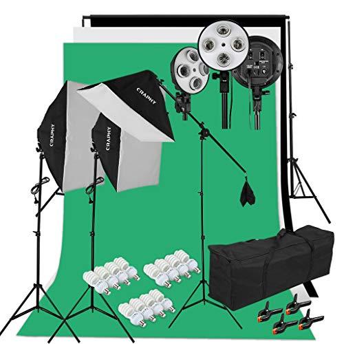 Kit Éclairage Studio Photo : 3 Softbox avec 4 Douilles + 12x45W Ampoules + Trépieds + 3 Fonds + Support de Fond+ Sac (Vendeur tiers)