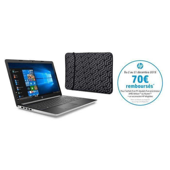 """PC Portable 15.6"""" HP 15-db0063nf - HD, AMD Ryzen 5, RAM 8Go, Stockage 1To HDD + 128Go SSD, AMD Radeon Vega 8, Windows 10 (via ODR de 70€)"""