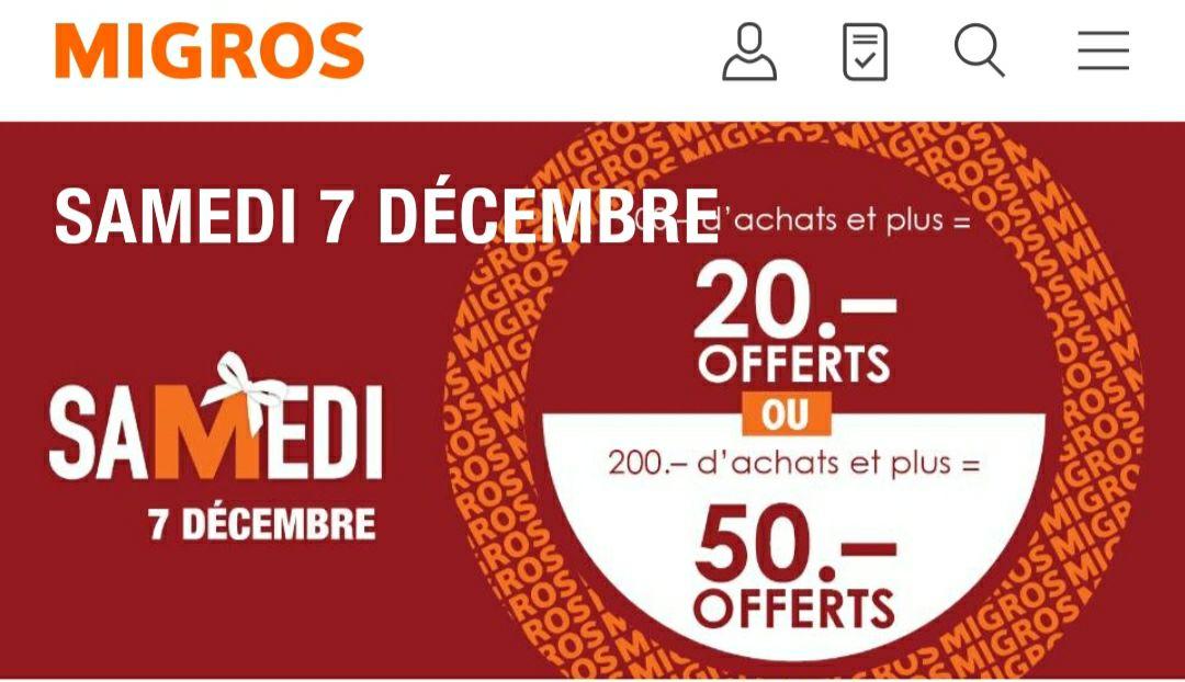 20 frs (18.25€) en bon d'achat à partir de 100 frs (91.25€) d'achat ou 50 frs (45.62€) dès 200 frs (182.49€)- Migros (Frontaliers Suisse)