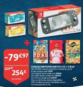 Console Nintendo Switch Lite + Captain Toad + Fifa 20 + Sushi Striker (Frontaliers Luxembourg)