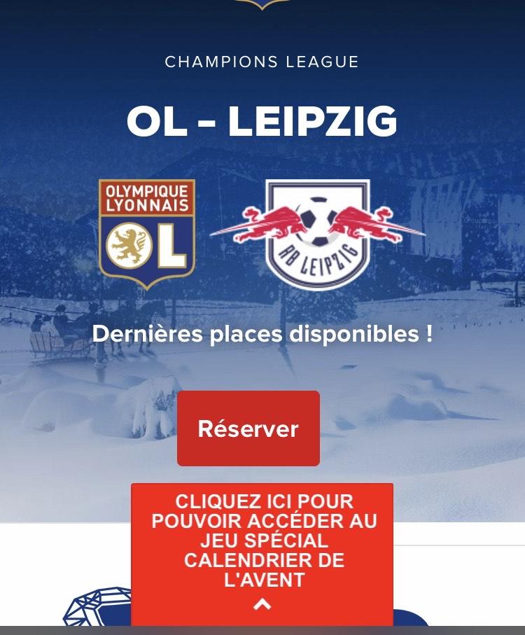-50% sur le match OL / Leipzig sur une sélection de catégories