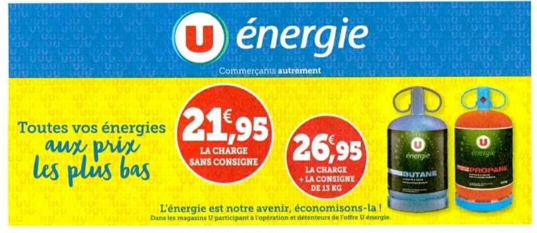 Bouteille 13kg butane ou propane (via consigne de 5€) - Super U