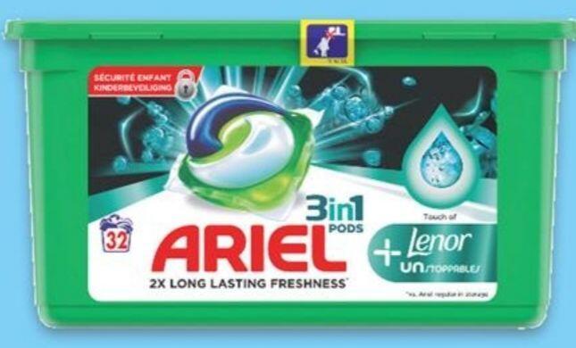 Boîte de 32 Capsules de Lessive Ariel Ecodose Lenor 3-en-1 (Via Carte de Fidélité + BDR)