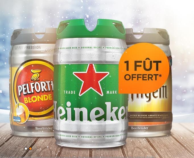 2 fûts de bière achetés = le 3ème offert (le moins cher)