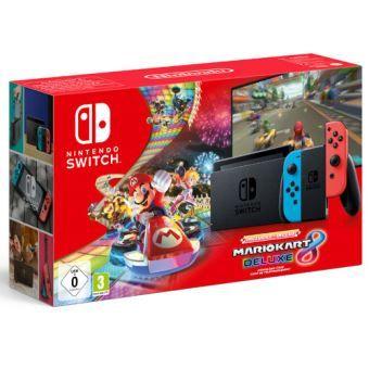 [Précommande] Console Nintendo Switch + Mario Kart 8 Deluxe (Dématérialisé) + Pack de 4 Volants Geek Monkeys