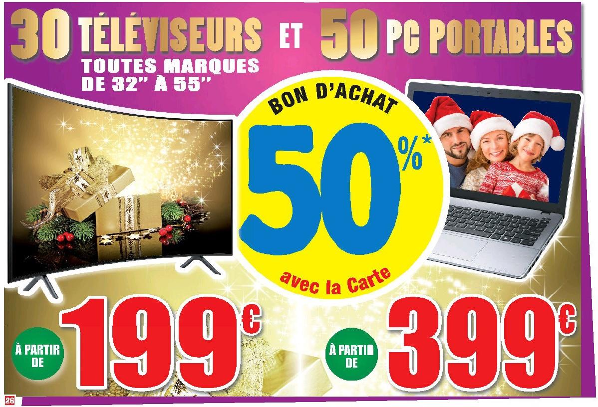 50 % de réduction en bon d'achat sur 50 PC portables et 30 Téléviseurs - Leclerc Grand Pineulh (33)