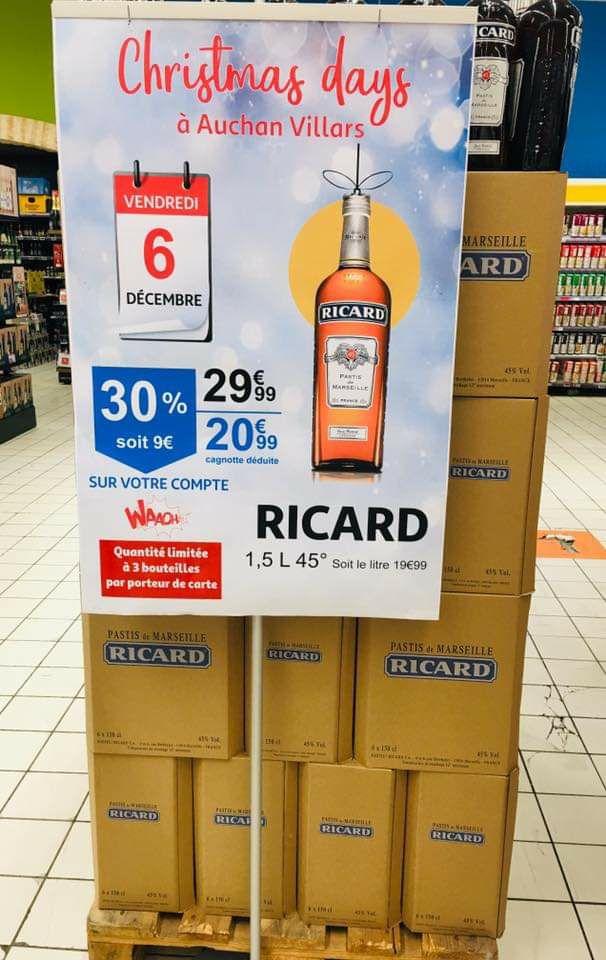 Bouteille d'apéritif Ricard - 1.5 L (via 9€ sur la carte de fidélité) - Villars (42)