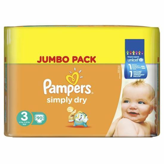 1 pack de couches Pampers acheté = Le 2ème à -50% - Ex : 2 pack Simply Dry T3 4 à 9kg 90 couches Jumbo