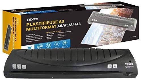 Plastifieuse Texet - A3, A4, A5, A6, A7, Jusqu'à 2x 125 mic