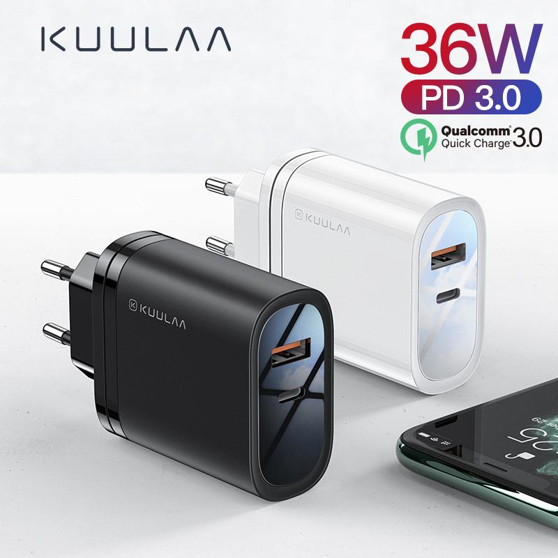 Chargeur Kuulaa (36W, QC 3.0, PD 3.0) - USB-A 18W + USB-C 18W (Noir)
